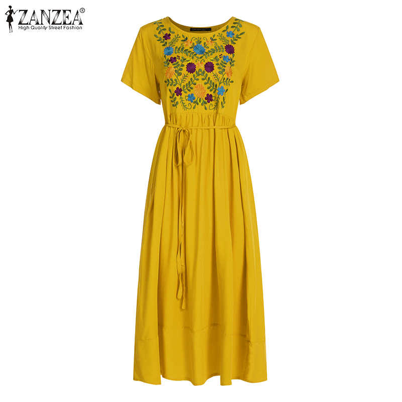 Zanzea Vrouwen Maxi Lange Jurk Plus Size Zomer Jurken 2020 Korte Mouw Casual Losse Borduurwerk Bloemen Party Vestidos Robe Femme
