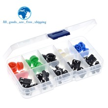 Bouton-poussoir Tactile momentané, 25 pièces, 12x12x7.3MM, Micro + 25 pièces, 5 couleurs, pour Arduino, avec étui