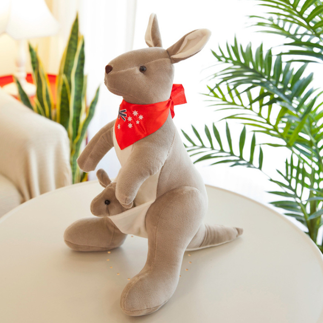 Lovely Soft Kangaroo Stuffed Doll Animal Plush Toy Soft Plush Doll Stuffed Baby Toys Room Decoration for Children Baby Girl Gift