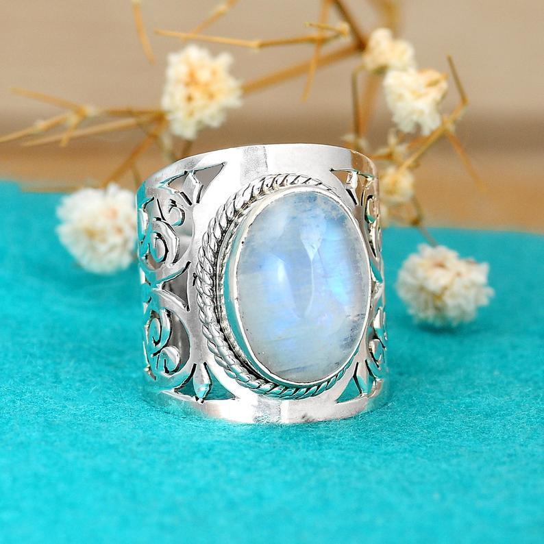 Женское Винтажное кольцо в стиле бохо, серебряное кольцо с овальным опалом, подарочное ювелирное изделие, обручальные кольца с большим камн...