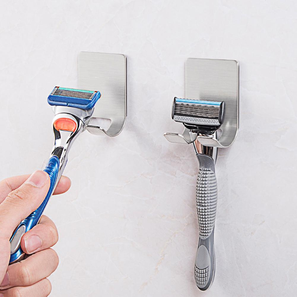 Razor Holder Shaver Hook Hanger Stand Self Adhesive Stainless Steel Heavy Duty Utility Storage Hook Bathroom Kitchen Organizer