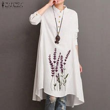 Vintage Women's Embroidery Blouse ZANZEA Autumn Floral Long Tops Casual Long Sleeve Shirts Female Button Robe Plus Size Tunic