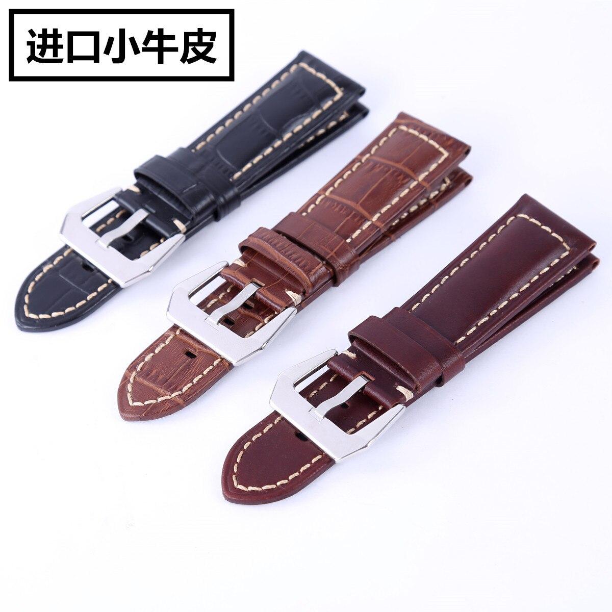 Watch Accessories Men Universal Platform Watch Strap Thick Watch Band Import Calf-skin Watchband Waterproof Watch Strap