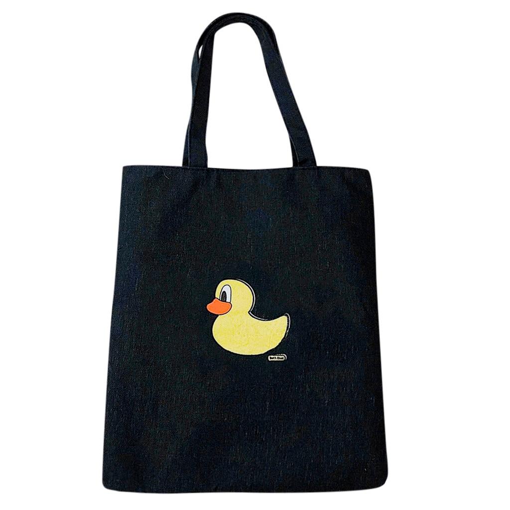 Bolso Mujer Female Canvas Shopping Bag Cartoon Shoulder Bag Student Out Large Capacity Bag Reusable Shopping Bags