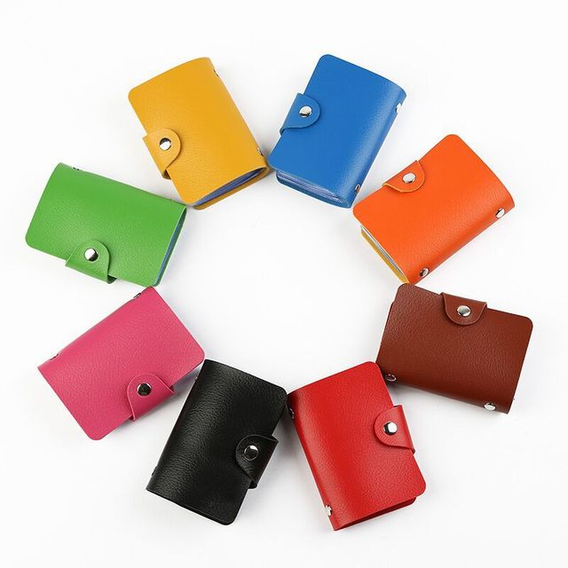 ZOVYVOL 24 Bits Credit Card Holder Women Men ID Wallet Solid Colorful Button Small Purse Soft Leather Bussiness Mens Money Bag 5