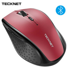 TeckNet Wireless Bluetooth Mouse BM308 Red 2.4GHz Computer 1600DPI 3000DPI for Huawei Xiaomi Laptop PC Gaming