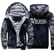 Мужская толстовка с капюшоном и модным принтом викингов, камуфляжная флисовая толстовка большого размера, осенне-зимняя мужская теплая куртка на молнии