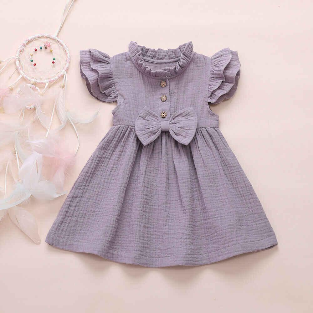 فستان الأميرة للأطفال والرضع 2020 من 1-6 سنوات من الكتان المتين بأكمام مكشكشة وياقة مقلوبة فستان الحفلات على شكل حرف a ملابس