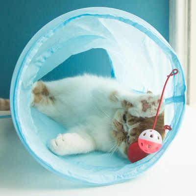 고양이 터널 2 구멍 애완 동물 놀이 튜브 공 Collapsible Crinkle 새끼 고양이 장난감 강아지 흰 족제비 토끼 놀이 개 터널 튜브