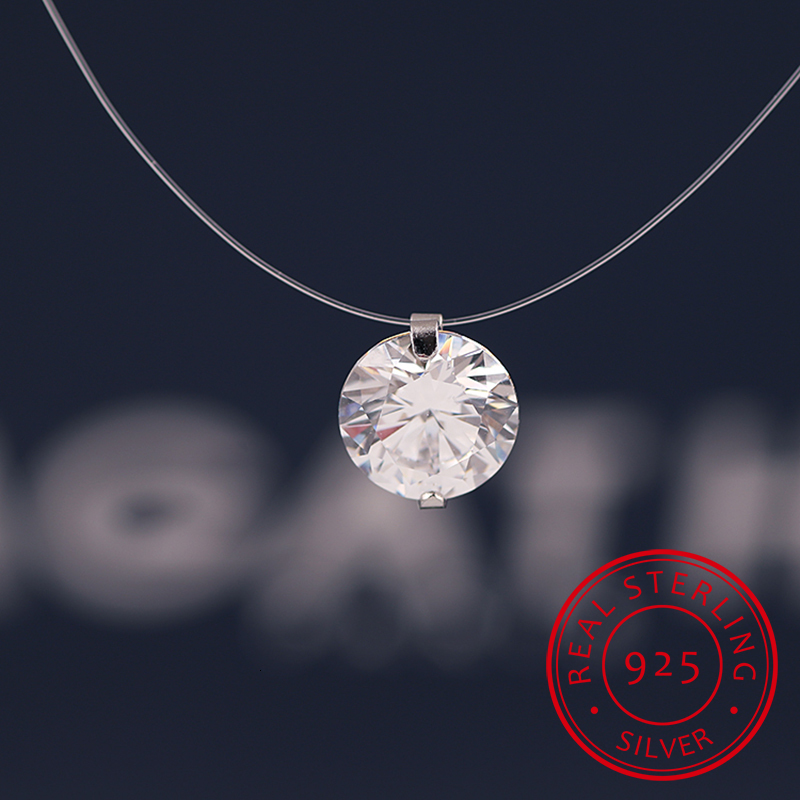 Summer Stereo Transparent Fishing Line Stealth Necklace Snowball Crystal From Swarovski Locks Chain Valentine Gift
