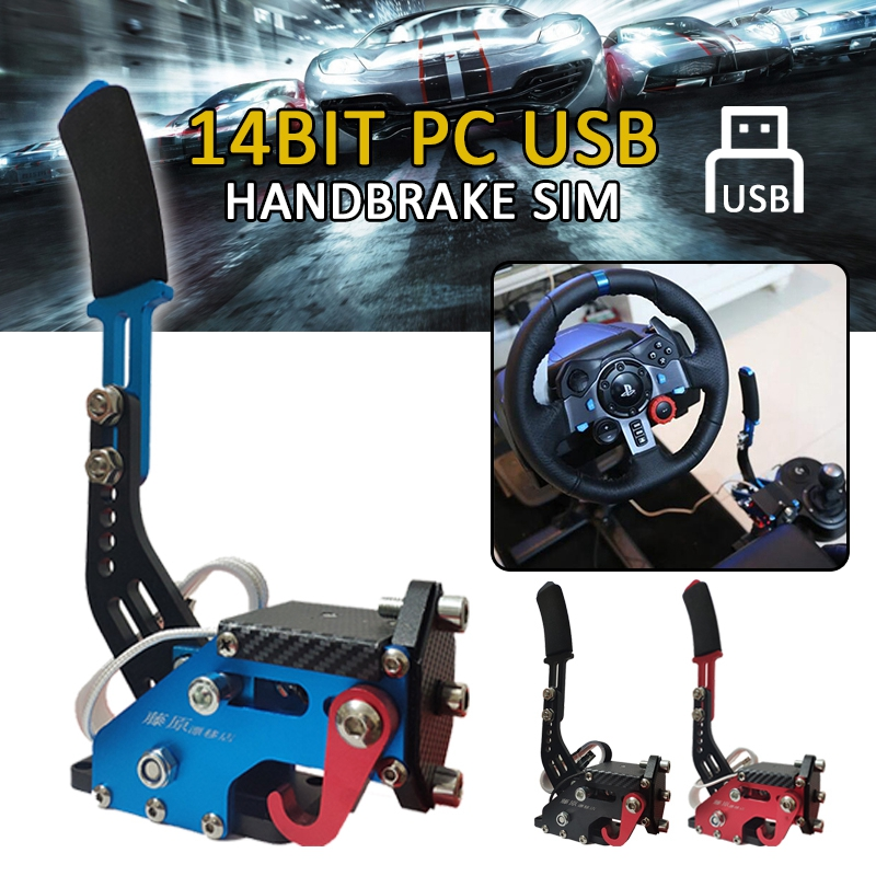 Pcmos 14Bit USB Handbrake SIM For G25/27/29 T500 PC Racing Games FANATECOSW DIRT RALLY Hand Brake System Red Black Blue 2019 New