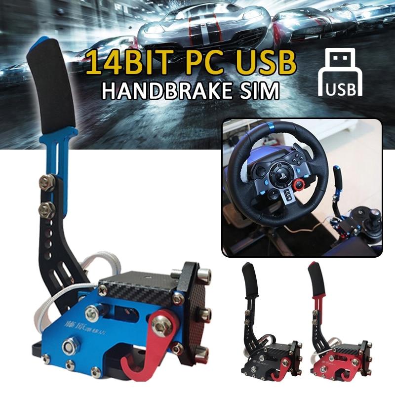 Pcmos 14Bit USB Handbrake SIM For G25/27/29 T500 PC Racing Games FANATECOSW DIRT RALLY Hand Brake System Red Black Blue 2019 New