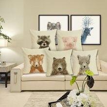 Чехол для подушки с изображением животных мультяшная подушка