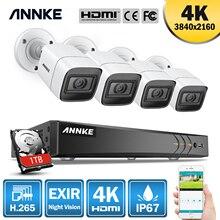ANNKE caméra de sécurité Ultra HD 8CH 4K DVR H.265, système de sécurité, étanche IP67, pour lextérieur, caméra 8MP, vidéosurveillance, 4 pièces