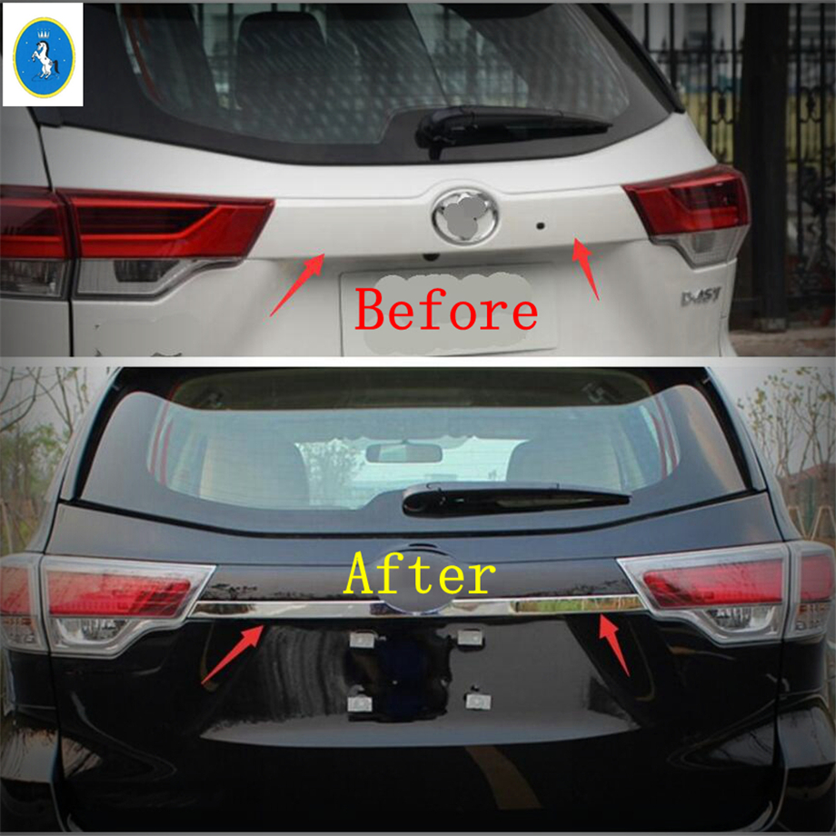 Fits for Toyota Highlander Kluger 2014 2015 2016 2017 2018 Chrome Rear Trunk Lid Tail Gate Door Cover Trim Garnish Strip Car Styling