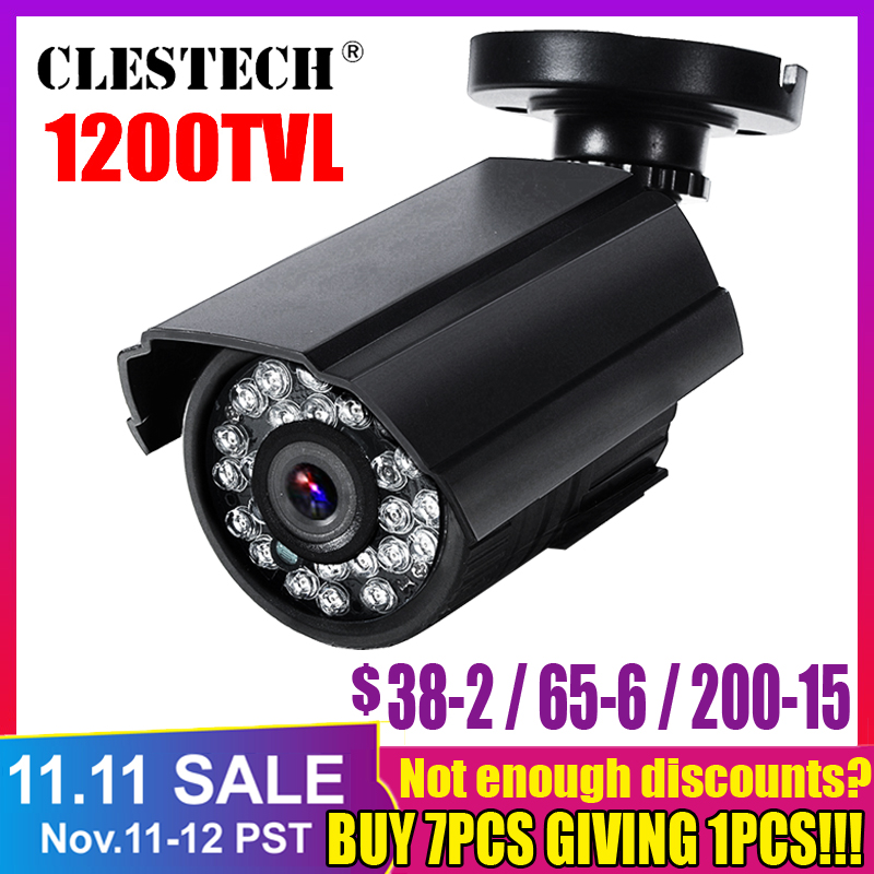 Real 1200TVL HD Mini Cctv Camera Cmos Outdoor Waterproof IP66 IR Night Vision Analog Cam färgövervakningssäkerhet med konsol