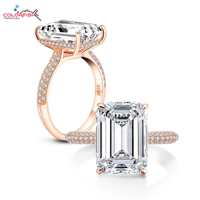 COLORFISH luxe 6 carats émeraude coupe AAAAA cubique zircone bague de fiançailles 925 en argent Sterling anneaux pour femmes bijoux de mariage