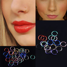 40Pcs Nose Piercing Ring Stainless Steel Titanium Burun Piercing Nose Ring Hoop Fake Septum Body Jewelry(China)