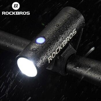 Rockbros farol para bicicleta de 400lm, 800lm, usb, recarregável, luz dianteira, à prova d' água, energia, ciclismo, mtb, lanterna para bicicleta 1