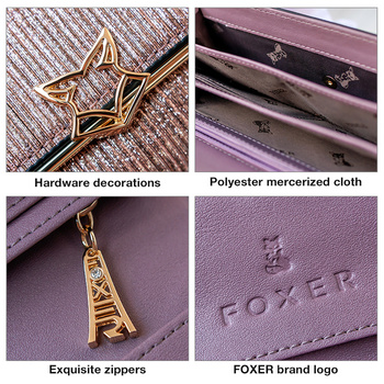 FOXER Brand Women Split Leather Wallets Female Clutch Bag Fashion Coins Card Holder Luxury Purse for Ladies Women's Long Wallet 6