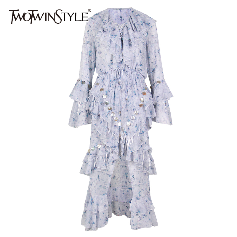 TWOTWINSTYLE V Neck Patchwork Sequins Tassel Maxi Dresses Women Flare Sleeve Ruffle Party Dress Female 2020 Spring Fashion New
