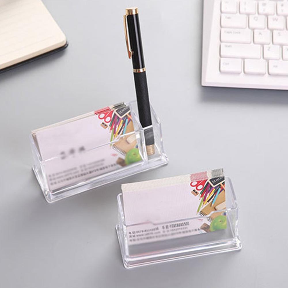 Portable Clear Business Card Holder Display Stand Desk Desktop Countertop Business Card Holder Desk Shelf Box