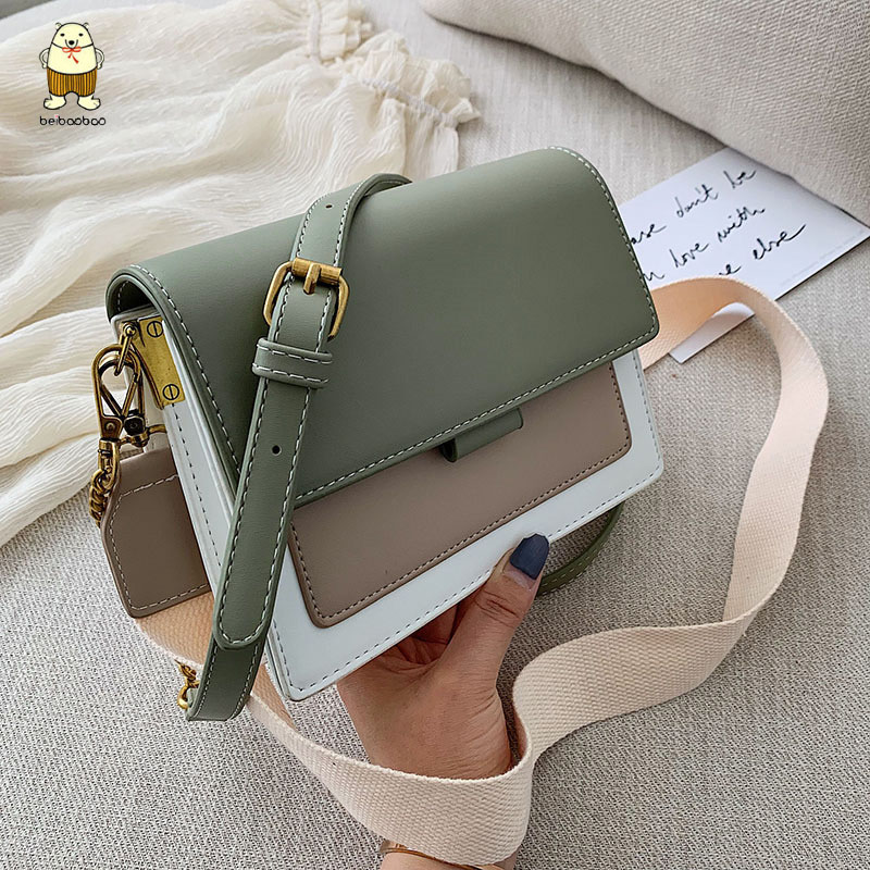 Beibaobao 2019 Mini Leather Crossbody Green Chain Shoulder Messenger Small Square Bag Lady Women Travel Purses Handbags Party