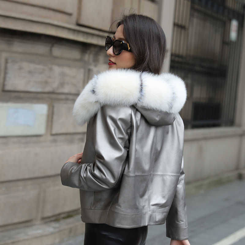Genuine Leather Jacket Women Fox Fur Collar Winter Sheepskin Coat Short Womens Down Jackets Hooded Korean 2020 ZM-1203-2 KJ3858