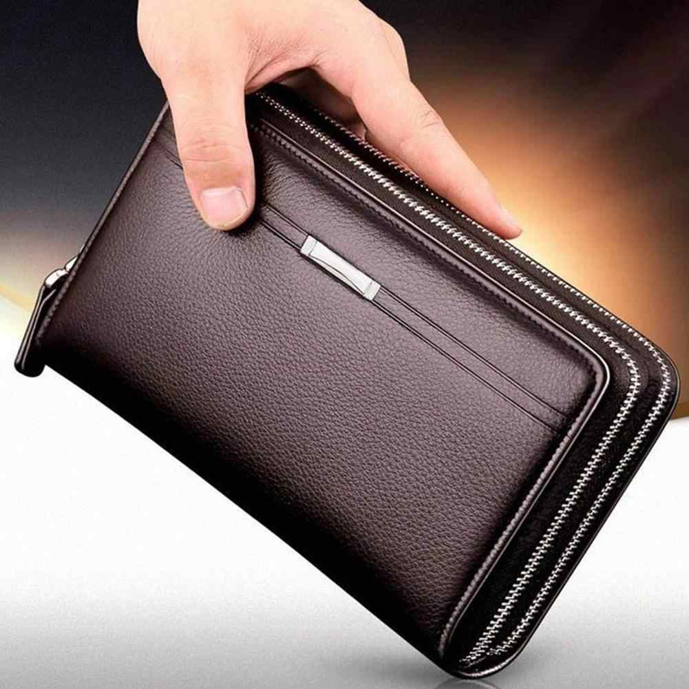 Fashion Faux Leather Mannen Tas Grote Capaciteit Card Cash Houder Lange Portemonnee