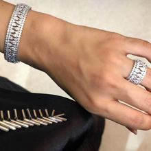 GODK 2PCS Bracelets/Ring Luxury Cubic Zirconia Open Bangle Resizable Rings Trendy Girls Women Patry Wedding Jewelry Sets