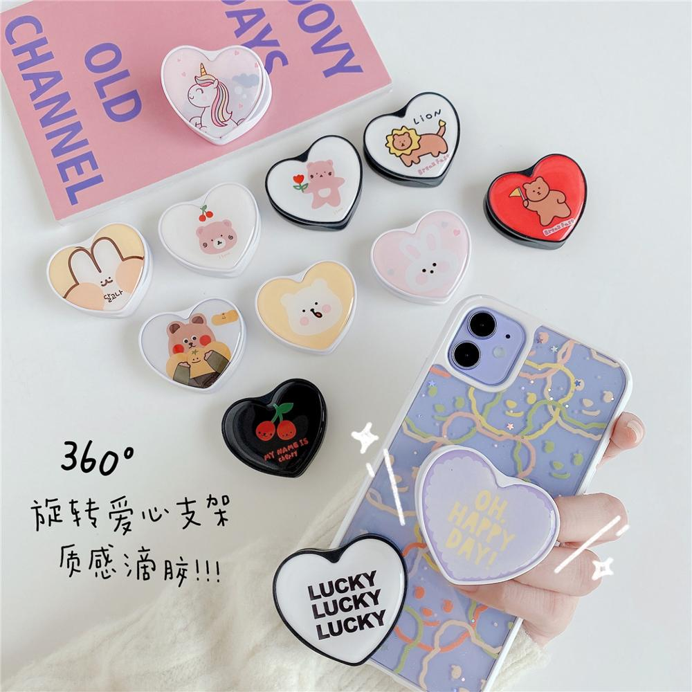 Cute Cartoon Love Heart Universal Mobile Phone Foldable Holder Expanding Phone Stand Finger Holder For IPhone 11Pro Samsung