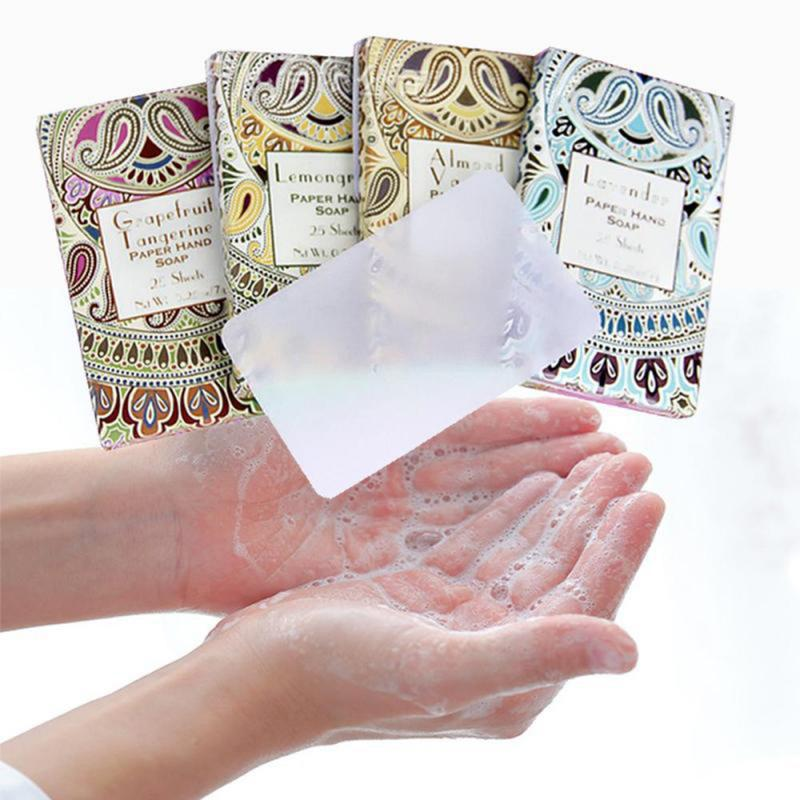 25pcs Disposable Boxed Soap Paper Travel Portable Outdoor Hand Washing Cleaning Scented Slice Sheets Mini Cosmetic Makeup Tools