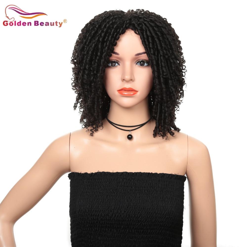 Image 3 - 14inch Short Wigs for Black Women Synthetic Dreadlocs Hair Wig Ombre Black Bug Crochet Braid Wigs Heat Resistant Golden BeautySynthetic None-Lace  Wigs   -