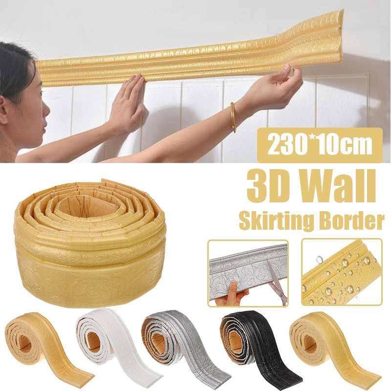 230cm Waterproof Self-Adhesive 3D Foam Wall Stickers Wallpaper Border Wall Decor Removable Sticker Home Decoration 5 Colors