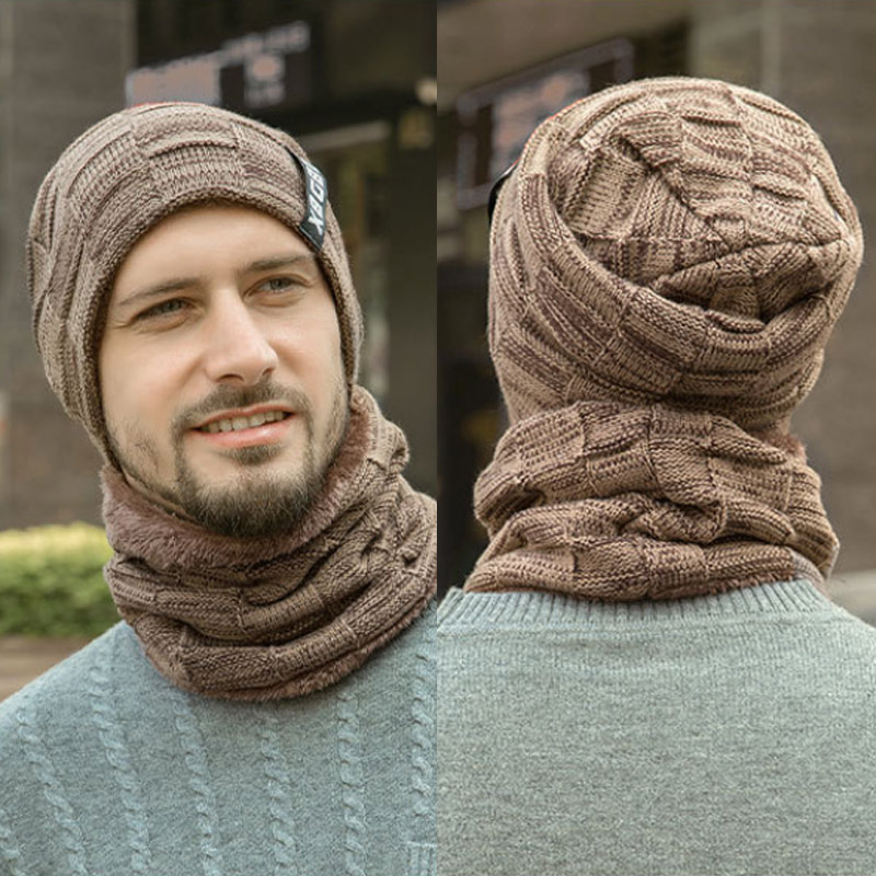 Q Cap Skullies Bonnet Warm Knit Beanies Balaclava Winter Hat For Men Women Fashion Winter Hat Neck Warmer Knitted Hat Scarf Set