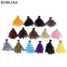 Bybrana bjd diy perucas 15cm * 100cm preto ouro marrom cor prata cabelo encaracolado curto para 1/3 1/4 1/6 bonecas