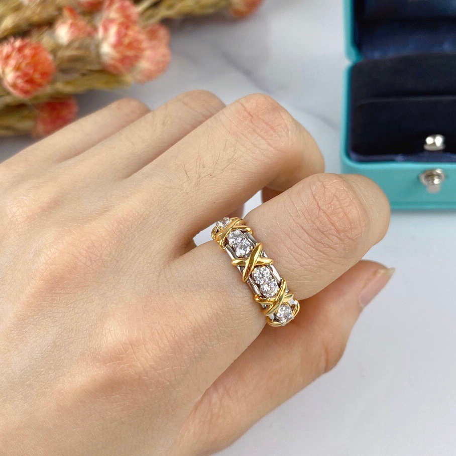 Couleur argent bijoux croix bague femme mode Micro pavé CZ cristal anneaux femmes anneaux