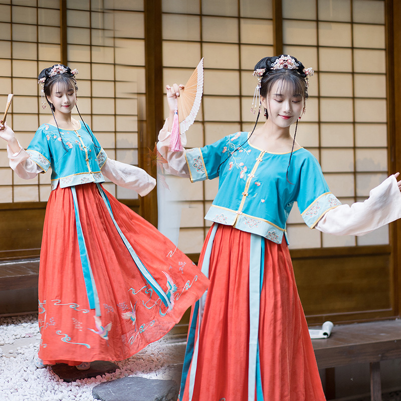 Female Hanfu Dress Chinese Traditional Ancient Embroidery Clothes Han/Tang Dynasty Classical Folk Dance Stage Costumes DQL3087
