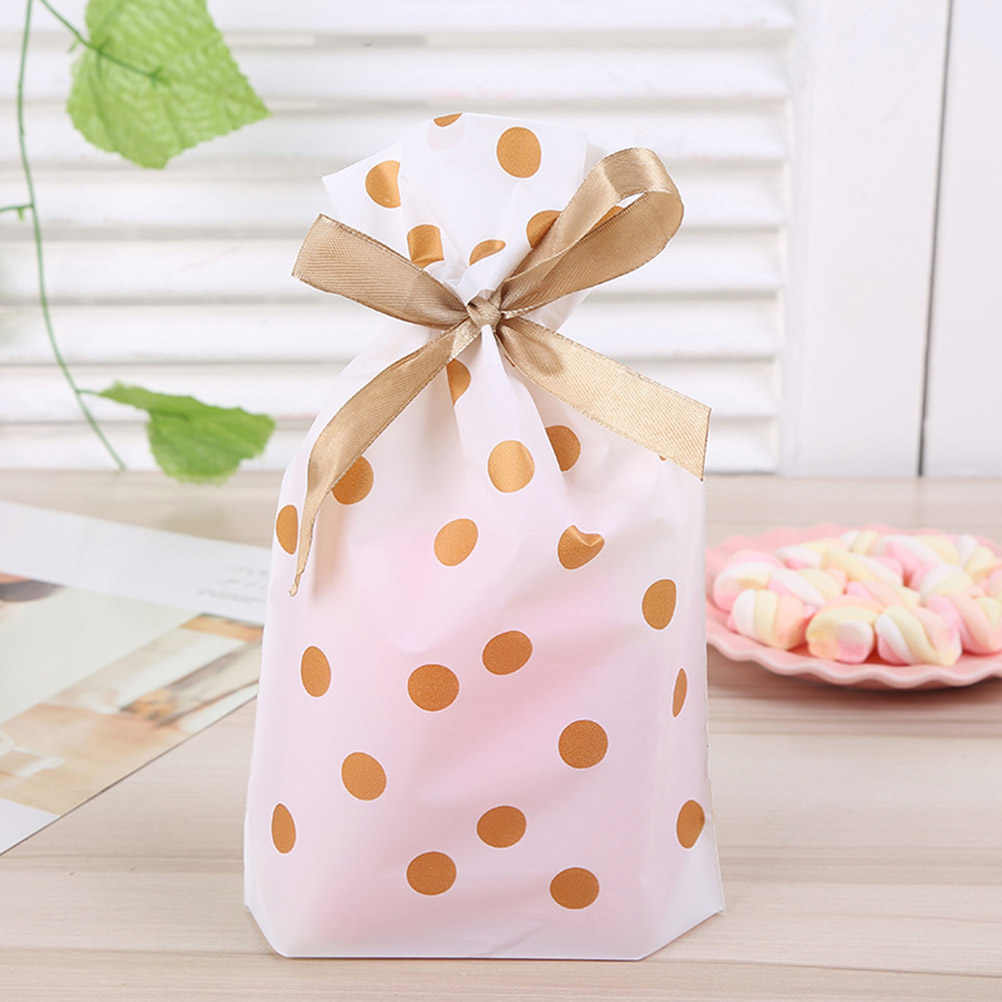 50pcs Food Drawstring Bags Decorative Dot Pattern Storage Pouch Bundle Pocket Drawstring Bag for Party Gathering Festival