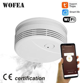 Wofea WiFi Smoke Detector Home Security Fire Alarm System Tuya Smart Smoke Sensor APP Message Push 95db Sound No Need Hub