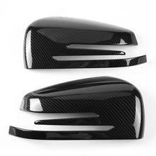 2 adet karbon Fiber yan dikiz aynası kapatma başlığı Trim için Mercedes Benz A B C E GLA sınıf W204 W212 ABS plastik araba aksesuarları