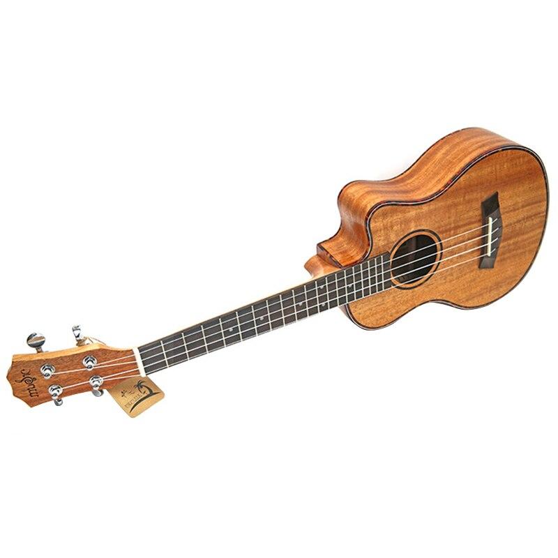Kits de ukulélé de Concert 23 pouces acajou Uku 4 cordes Mini guitare hawaïenne avec sac accordeur sangle Capo pique des pics pour débutant Musi - 4
