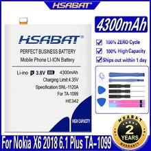 Hsabat he 342 he342 4300 mah bateria para nokia x6 2018 6.1 plus ta-1099 x5 ta-1109 5.1 plus