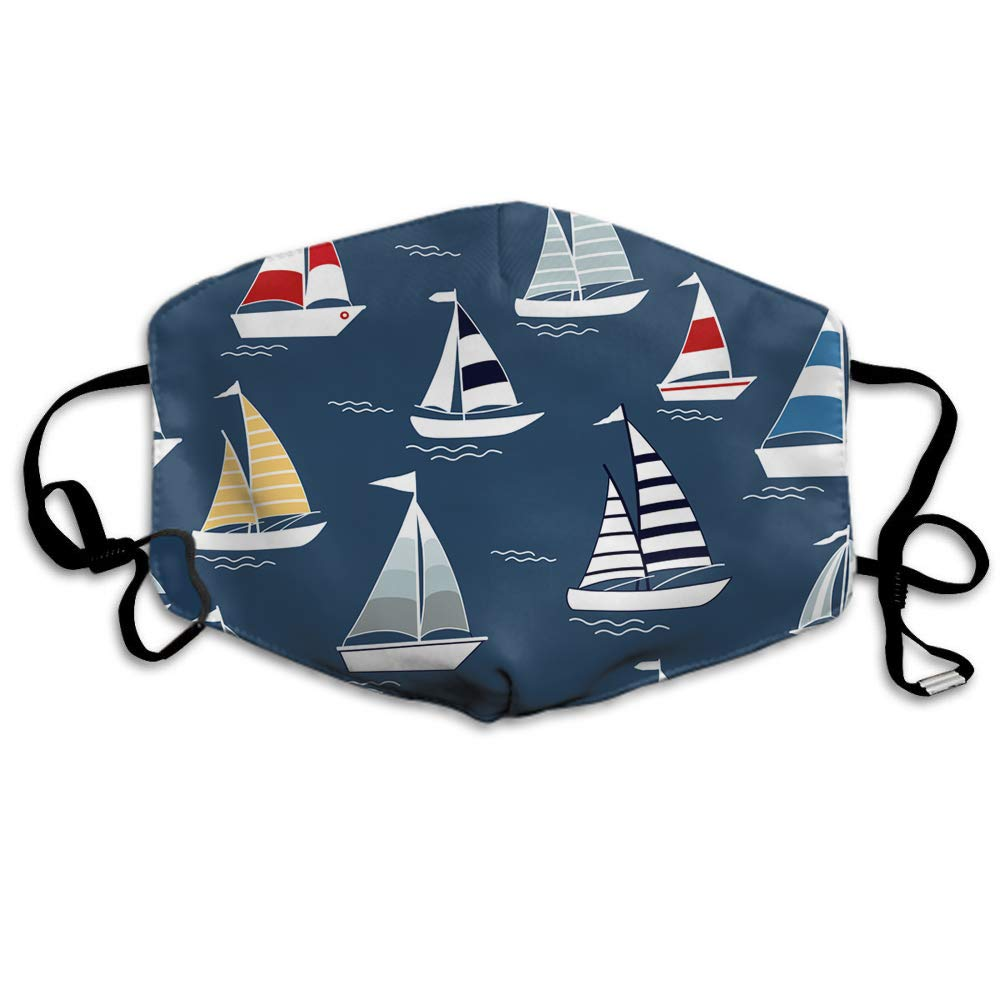 Swono Mask Boats,Cartoon Boats On Blue Sea Polyester Anti Dust Face Mask-Washable And Reusable Mask For Cycling Camping Outdoor