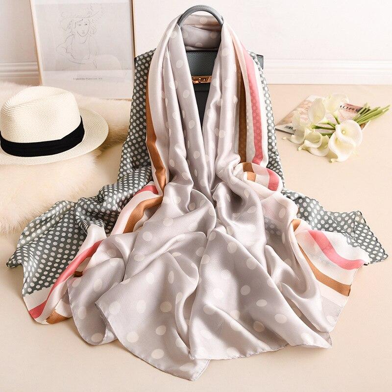 Silk Scarf Ladies Bandana Handkerchief For Women Hijab Fashionable Dot Foulard Femme Long Shawl Pashmina Scarves Chiffon Scarfs