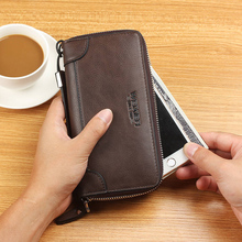 все цены на Men Wallets Hasp Zipper Vintage Pu Leather Men Wallets Luxury Leather Clutch Wallets Male Purses Large Capacity Men's Wallet онлайн