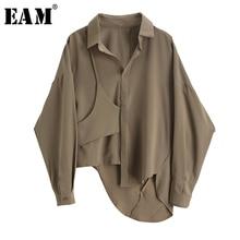 [EAM] Women Camel Irregular Split Big Size Blouse New Lapel Long Sleeve Loose Fit Shirt Fashion Tide Spring Autumn 2021 1X738