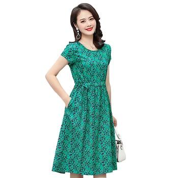 2020 Print women summer dresses vintage plus size causal o-neck short sleeve floral vestido 5XL elegant dress elegant scoop neck abstract print short sleeve dress for women