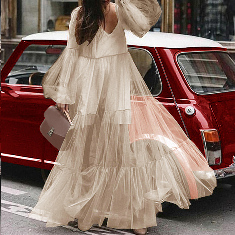 VONDA Maxi Dress Women 2019 Autumn Dress Sexy V-Neck Lantern Long Sleeve High Waist Party Dresses Long Vestidos Plus Size Robe