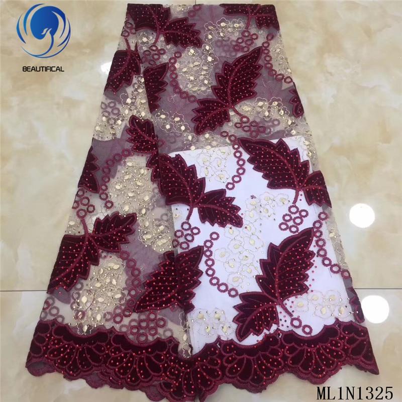Hermosas telas de encaje africano 2019 nuevo patrón de follaje telas franela mezcla de tul encaje tela nigeriana con piedras ML1N1325 - 5